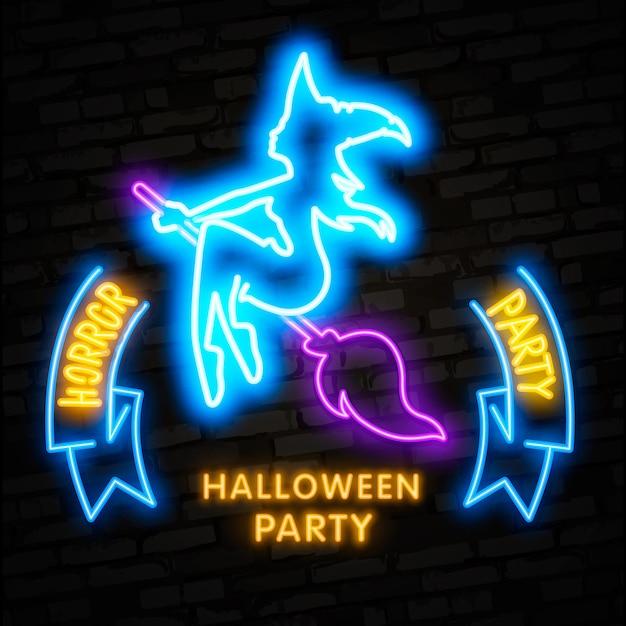 Halloween neon elements Premium Vector