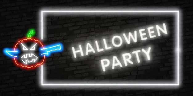 Halloween neon lettering Premium Vector