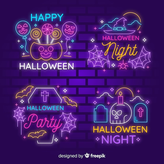 Halloween neon light sign collection Free Vector