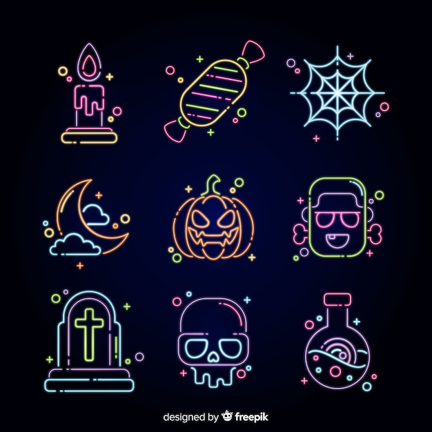 Halloween neon sign collection Free Vector