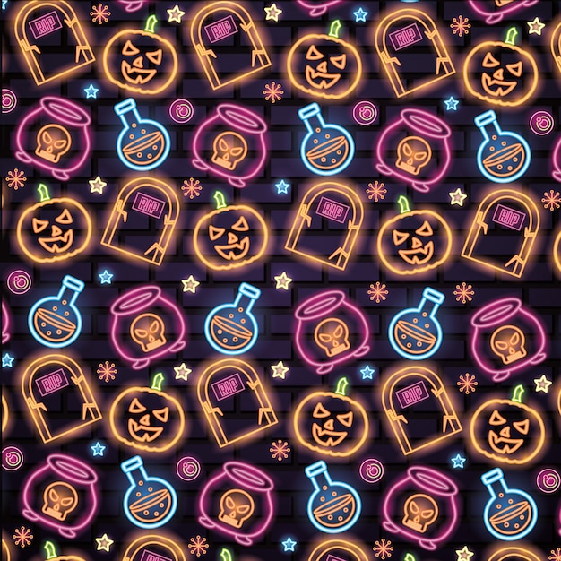 Halloween neon signs pattern Free Vector