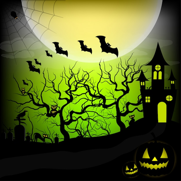 Halloween night background vector illustration Premium Vector