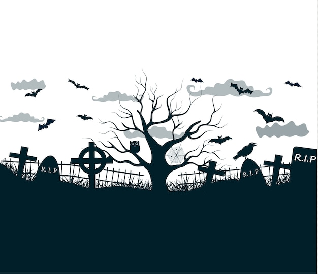 Illustrazione di notte di halloween nei colori neri, bianchi, grigi con croci scure del cimitero, albero morto e pipistrelli Vettore gratuito