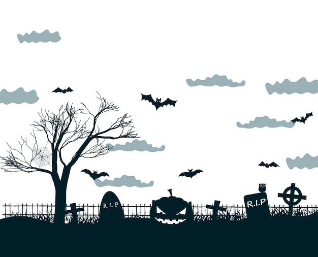 Illustrazione di notte di halloween nei colori nero, bianco, grigio con croci scure del cimitero, albero morto, zucche sorridenti e pipistrelli Vettore gratuito