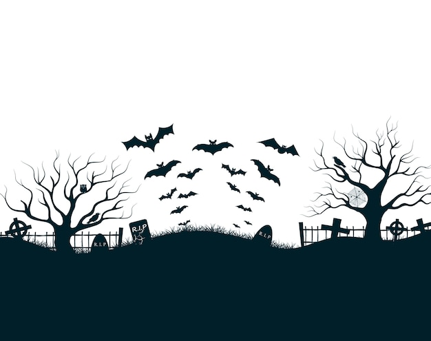 Halloween night illustration with dark castle cemetery crosses, dead trees and bats Free Vector