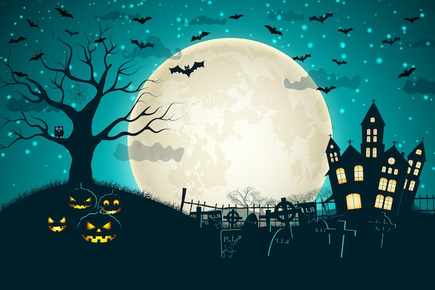 Halloween night moon composition with glowing pumpkins vintage castle and bats flying over cemetery flat Free Vector