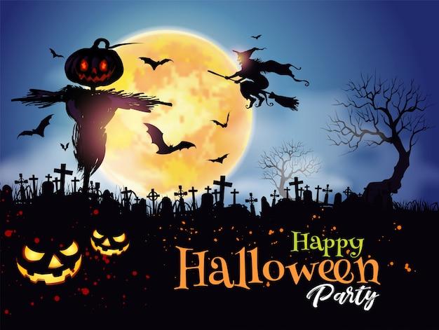 Halloween night mystery graveyard background with pumpkin Premium Vector
