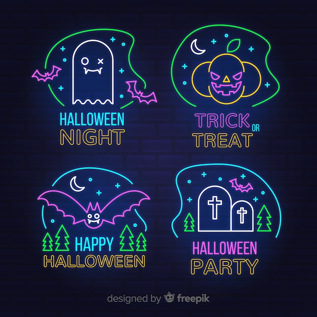 Halloween night neon sign collection Free Vector