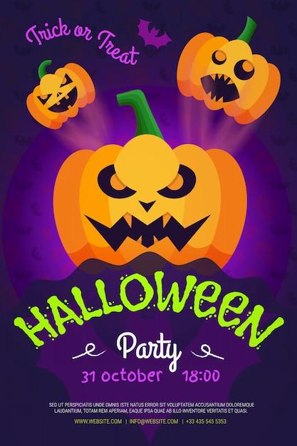 할로윈 밤 파티 전단지, 호박 파티 포스터입니다. 프리미엄 벡터