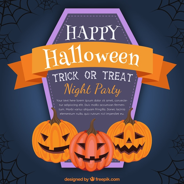 halloween night party poster free vector - Halloween Night Party