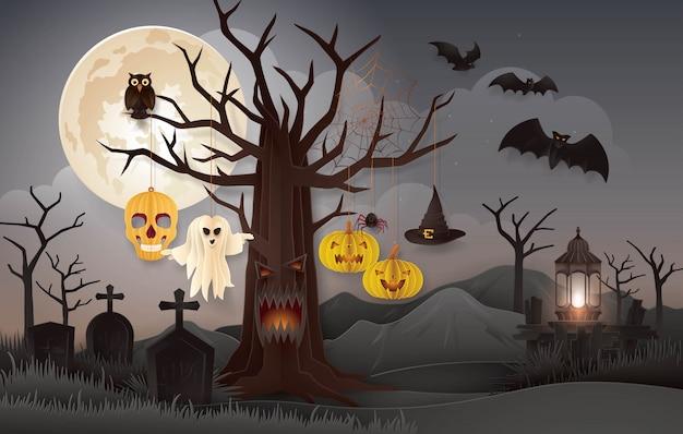 Halloween night party with graveyard, abstract halloween spooky tree Premium Vector