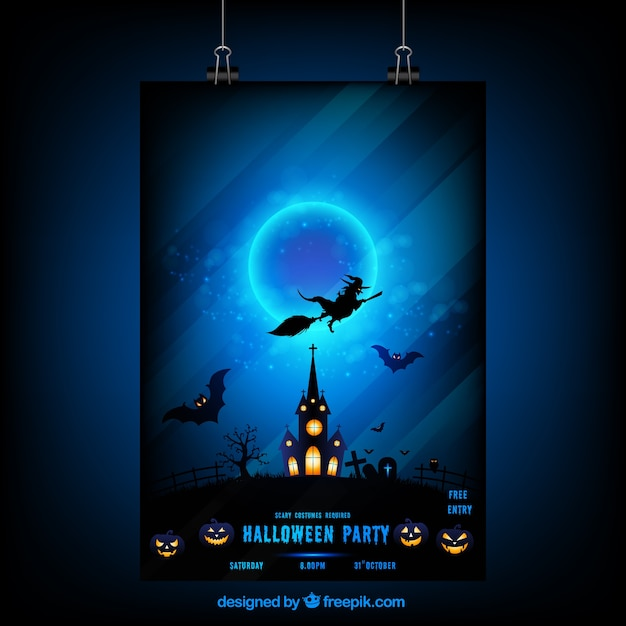 Halloween night poster with a witch and haunted house Free Vector