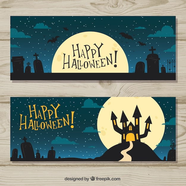 Halloween night scenery banners