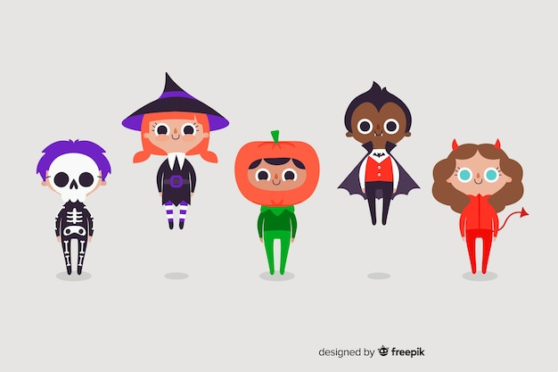 Halloween night with kids costumes Free Vector