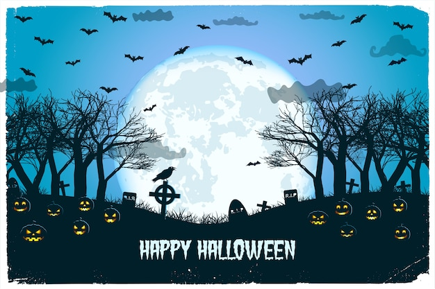 Halloween night with lanterns of jack and cemetery flying bats on huge moon Free Vector
