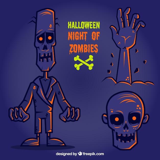 Halloween night of zombies Free Vector