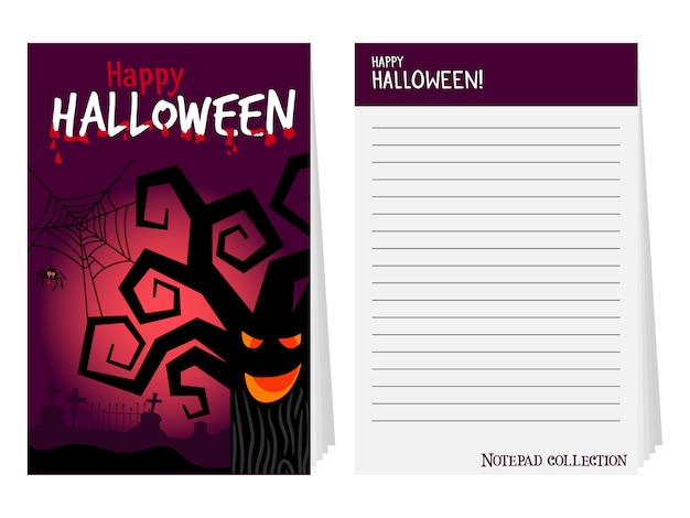 Halloween notepad cover with tree Premium Vector