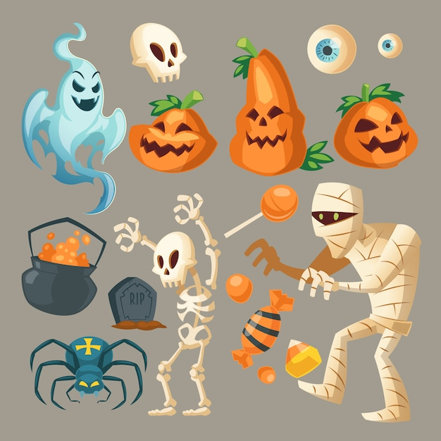 Halloween objects - scary ghost, spooky mummy and dark spider. Free Vector