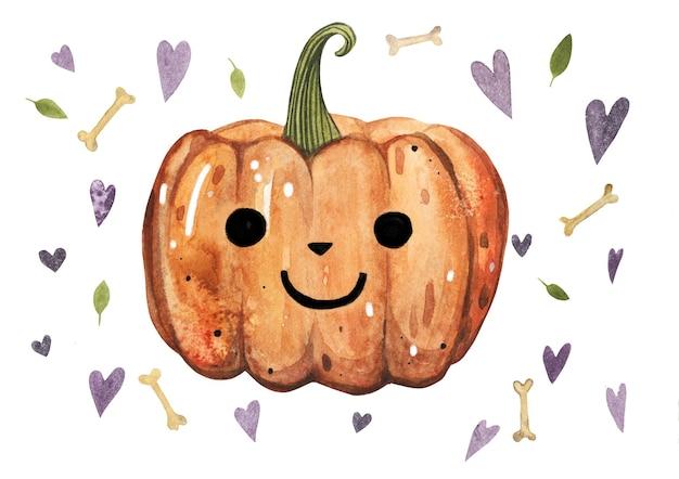 잎, 심장 모양 배경 할로윈 10 월 오렌지 호박 수채화 그림. 프리미엄 벡터