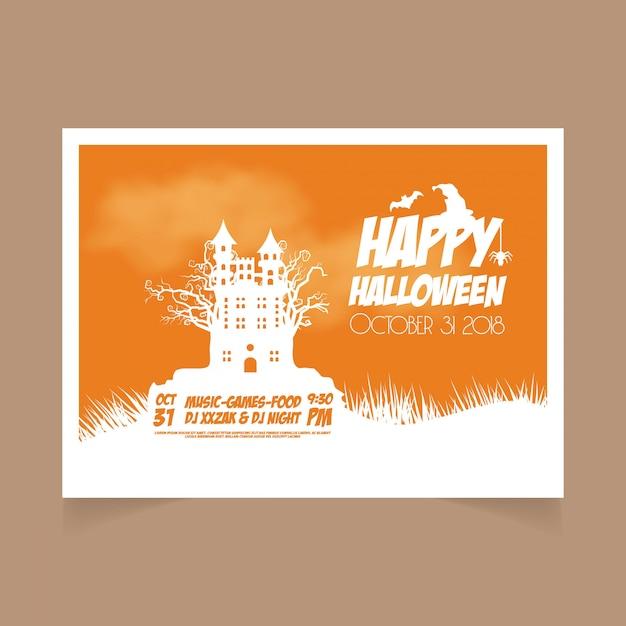 Halloween orange october 31st banner Premium Vector
