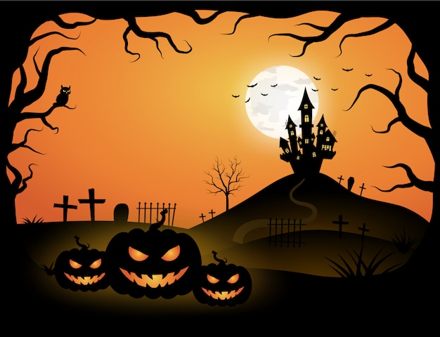 Halloween orange template in night sky view with dark tree, pumpkin, castle and full moon. Premium Vector