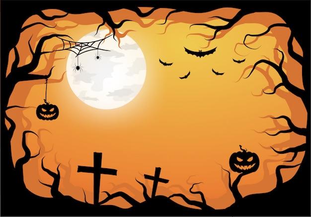 Halloween orange template in night sky view with dark tree, pumpkin and full moon. Premium Vector