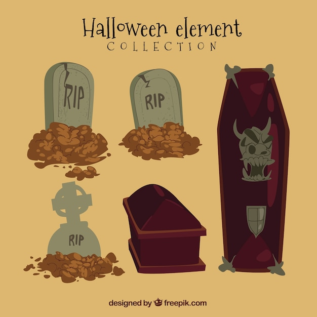 Halloween pack with coffins and tombstones Free Vector