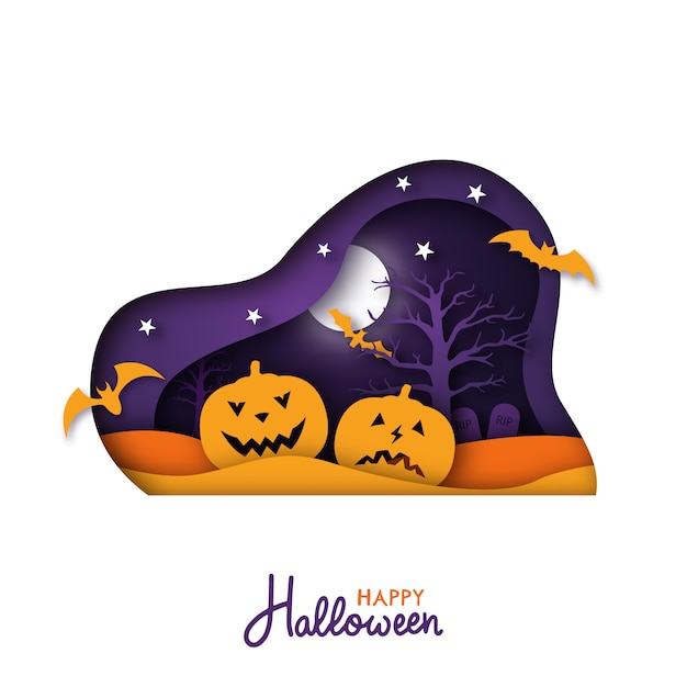 Halloween paper art greeting card. Premium Vector