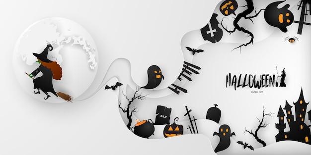 Плакат партии искусства бумаги хэллоуина. набор тыкв коллекции страшный и забавный карнавал фон концепции дизайна Premium векторы