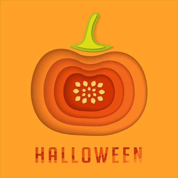 Halloween paper cut pumpkin background. Premium Vector