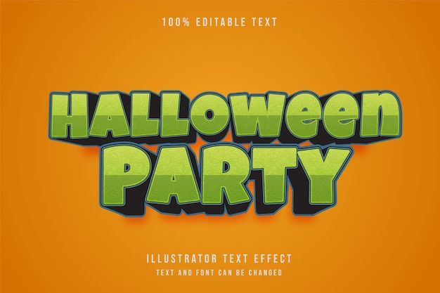 ハロウィーンパーティー、3 d編集可能なテキスト効果グレングラデーションブルーブラックシネマティックスタイル Premiumベクター