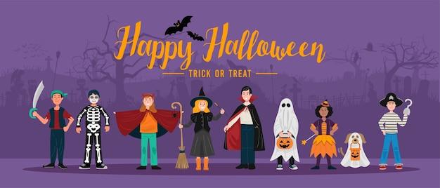 Фон вечеринки в честь хэллоуина, дети в костюмах хэллоуина. Premium векторы