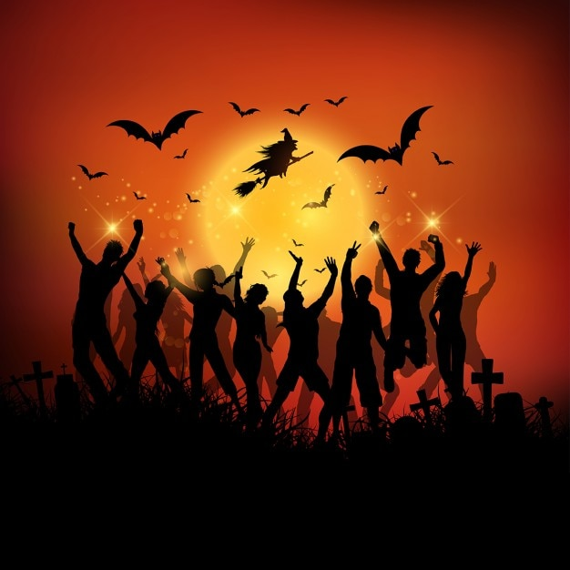 Http Www Freepik Com Free Vector Halloween Party Background With Silhouettes Of People Dancing 922479 Htm