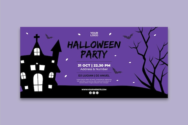 Halloween party banner template Free Vector