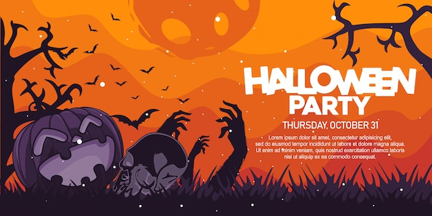 Halloween party banner with pumpkin and skull illustration Premium Vector