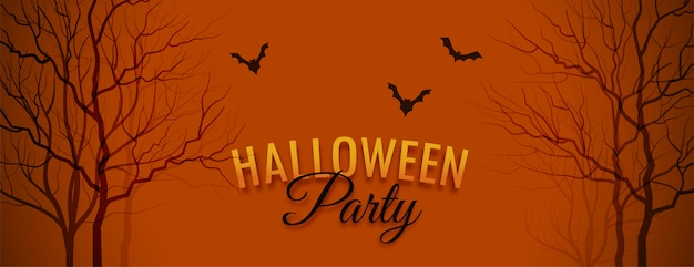 Halloween party banner with tree and bats Free Vector