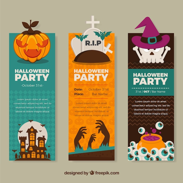 Halloween party banners in colorful style Free Vector