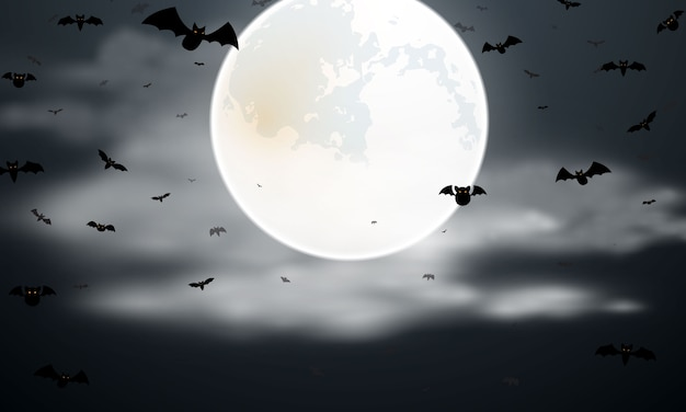 Хэллоуин летучая мышь и луна плакат. карнавал фон концепции дизайна Premium векторы