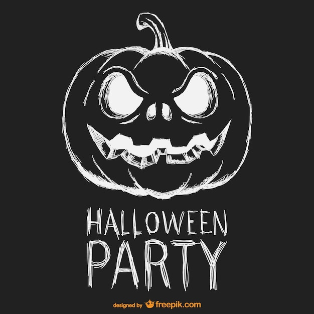 halloween party black and white poster free vector - Black And White Halloween Party
