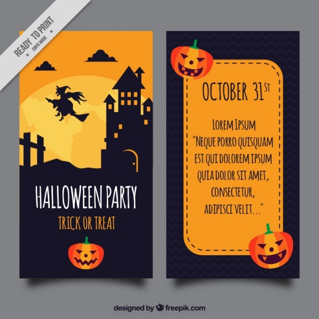 Halloween Party Brochure Template With Pumpkins Vector | Free Download