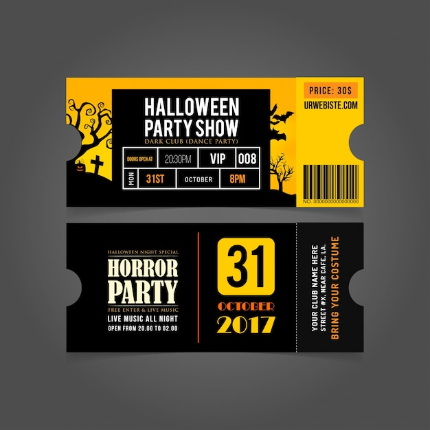 Halloween party card entry passes.halloween party tickets. Premium Vector