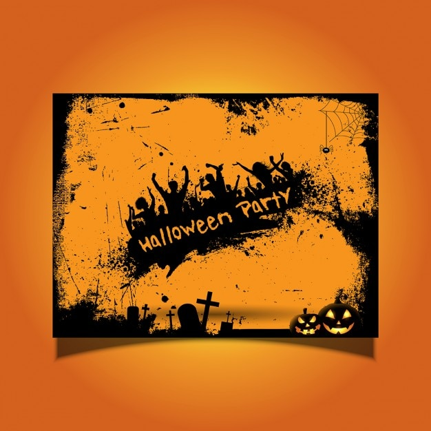 halloween party card with silhouettes of people dancing free vector - Dancing Halloween