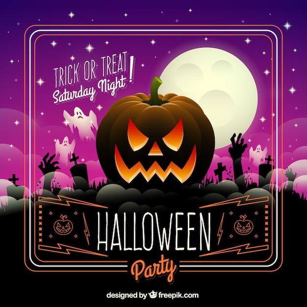 halloween party card premium vector - Party Halloween