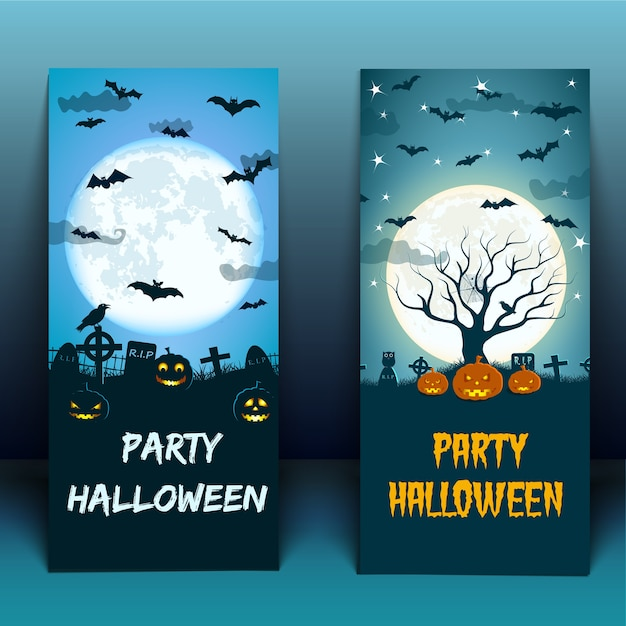 Halloween party at cemetery with birds lanterns of jack moon Free Vector