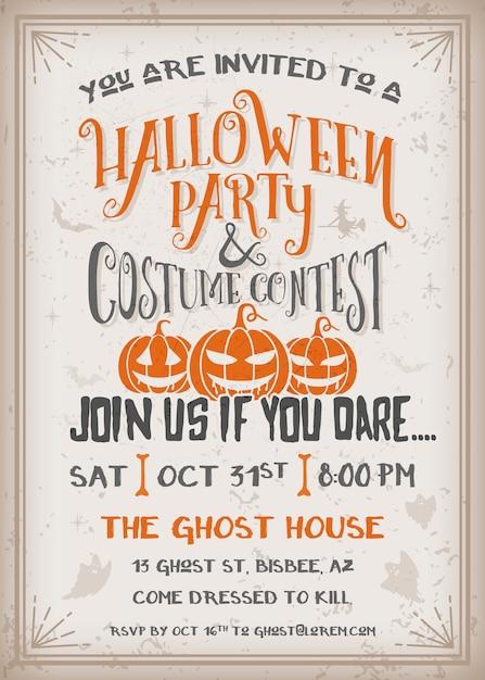 Halloween party and costume contest invitation Premium Vector