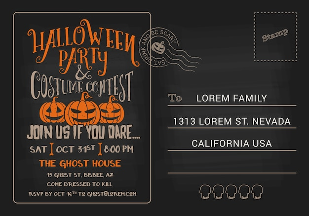 Halloween party and costume contest postcard invitation Premium Vector
