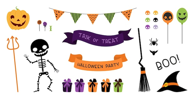 Halloween party decorations pack Free Vector