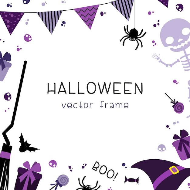 Halloween party decorations square frame with decorative with garlands, flags, gifts, hat, broom, skeleton and sweets on white background. Premium Vector