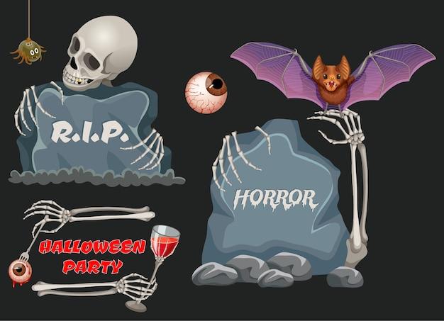 Emblemi di festa di halloween con assi di legno, pipistrello. Vettore gratuito