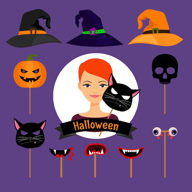 Halloween party fashion girl vector items Premium Vector